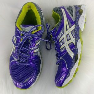 Asics Gel Nimbus 14 Running Shoes Purple Lime LE
